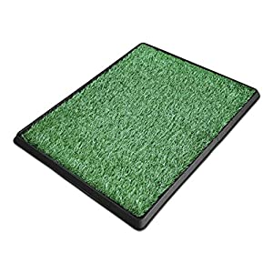 DELMANGO Dog Potty Trainer The Indoor Restroom for Pets with Artificial Grass, Puppy Potty - 3 Layered System Pan Tray Indoor Use Easy to Clean. 26