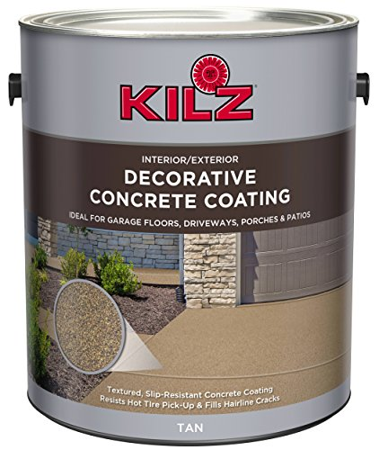 - KILZ L378601 Interior/Exterior Slip-Resistant Decorative Concrete Paint, 1 Gallon, Tan
