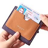 Borgasets Women's RFID Blocking Small Compact Bifold Leather Pocket Wallet Ladies Mini Purse with id Window Purple