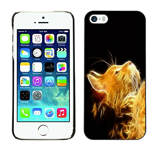 Housse Coque Étui de protection Anti-Scratch Effacer pour Apple Iphone 5 / 5S / Business Style Golden Sunshine Cat