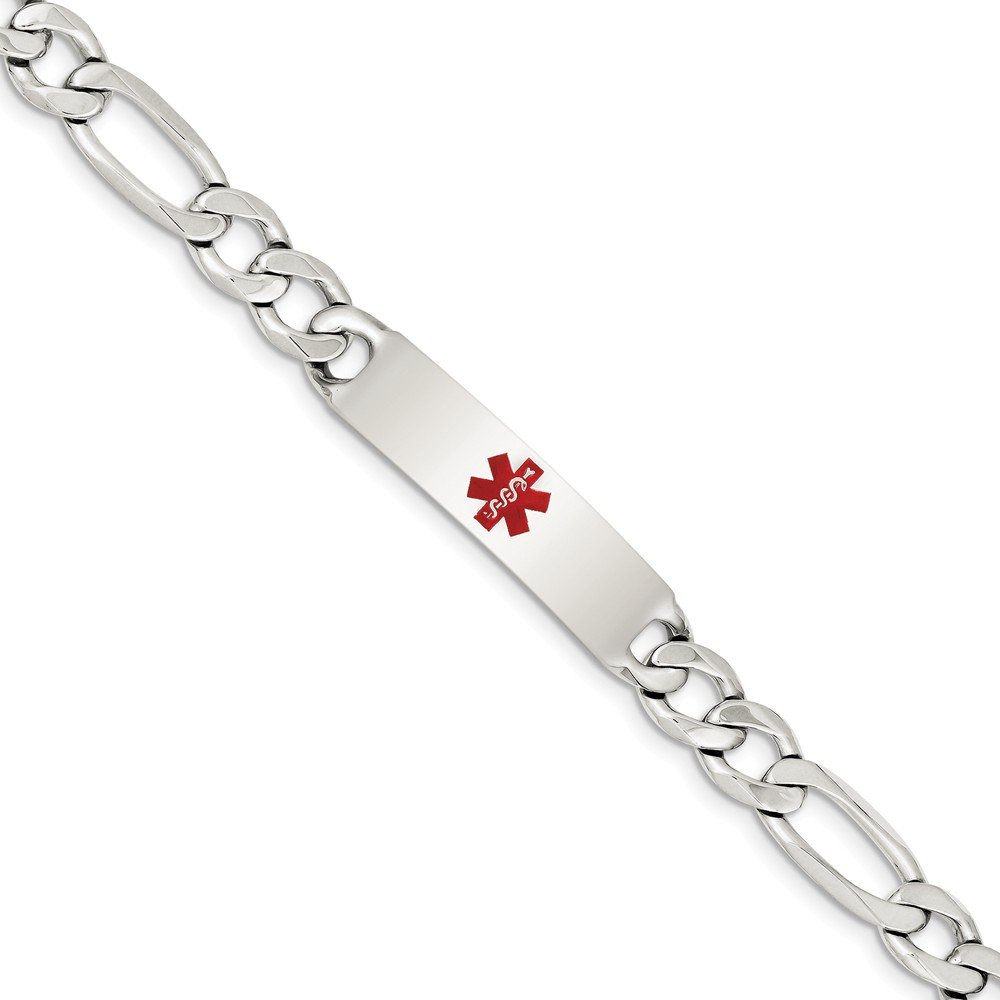 Solid 925 Sterling Silver Engravable Plate Polished Red Medical Caduceus//Rod of Asclepius Figaro Anchor Link ID Bracelet with Secure Lobster Lock Clasp 7.5
