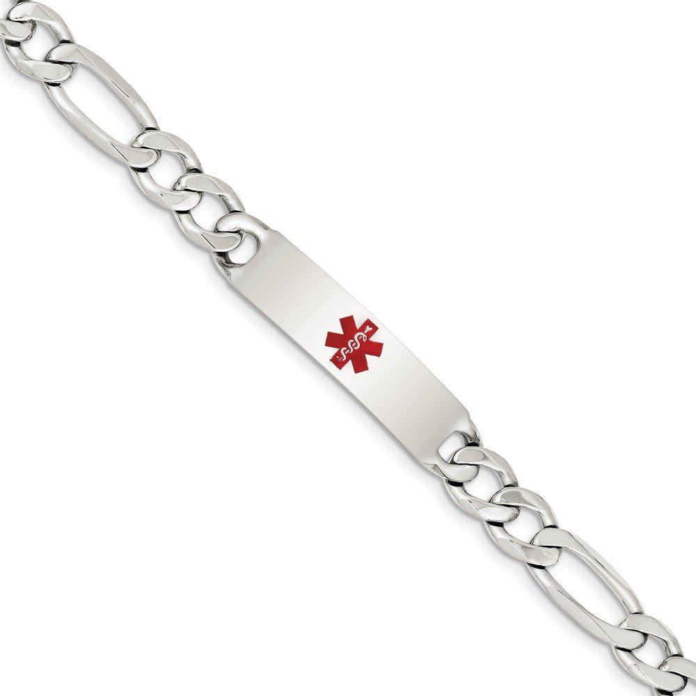 Solid 925 Sterling Silver Polished Medical Figaro Anchor Mariner Link ID Bracelet (10mm)