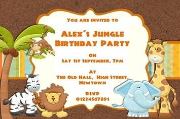 10 X Personalised Safari Jungle Animals Theme Birthday Party Invitations