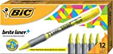 BIC Brite Liner+ Highlighter, Chisel Tip, Yellow, 12-Count