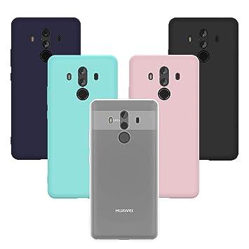 Yokata Funda para Huawei Mate 10 Pro, Carcasa Silicona Mate Ultra Fina Delgado TPU Goma Flexible Bumper Shock Protección Anti-Arañazos Cover [5 Pack] ...