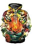 Haloon Unisex Simulation Printed Galaxy Pocket Drawstring Hooded Sweatshirt Abstract Tiger XXXL