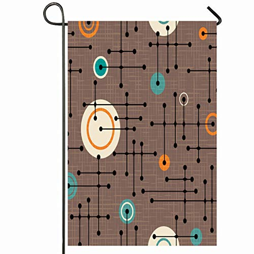 Mod Dot Circles - Ahawoso Outdoor Garden Flag 12x18 Inches Abstract Brown Retro Pattern Lines Circles Ornamental Mod Green Circuit Connected Dots Festive Seasonal Home Decorative House Yard Sign