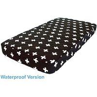 Bambella Designs Cot Mattress Protector, Crosses Black