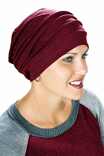 (Headcovers Unlimited Slouchy Snood-Caps for Women with Chemo Cancer Hair Loss Burgundy Wine )