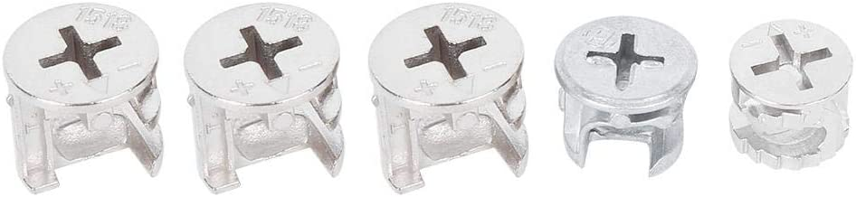 75Pcs Tuerca de Leva Muebles Juego de Tuercas de Rueda Exc/éntricas 3-En-1 Sujetador de Conector Herramientas de Hardware Enlazador de Muebles En Caja Paquete Plano Muebles Gabinete Bloqueo de Conexi/ón