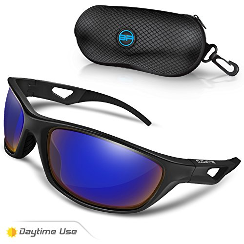 BLUPOND TR90 Polarized Sports Sunglasses for Cycling Running Driving Fishing Golf Baseball, SCOUT Flexible Frame Glasses (Black/Dark - Sunglasses For Running Top
