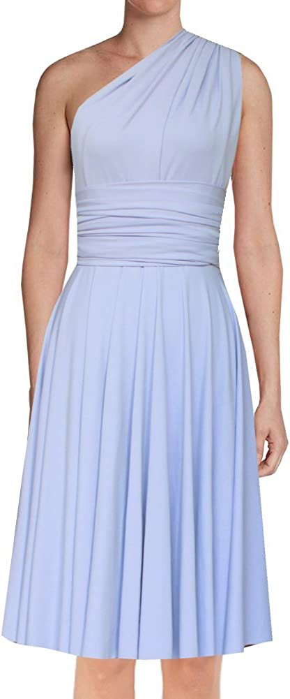 EK Infinity Short Dress Bridesmaid Convertible Gown Multi wrap Plus Size  Prom Skirt Knee Length Transformer wear
