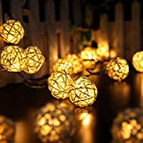 10 Rattan Ball Battery Box Holiday Light String Thanksgiving Christmas Hollow Spherical Holiday Lights Yard Garden Decoration Lights Creative Beautiful Lighting (Beige)