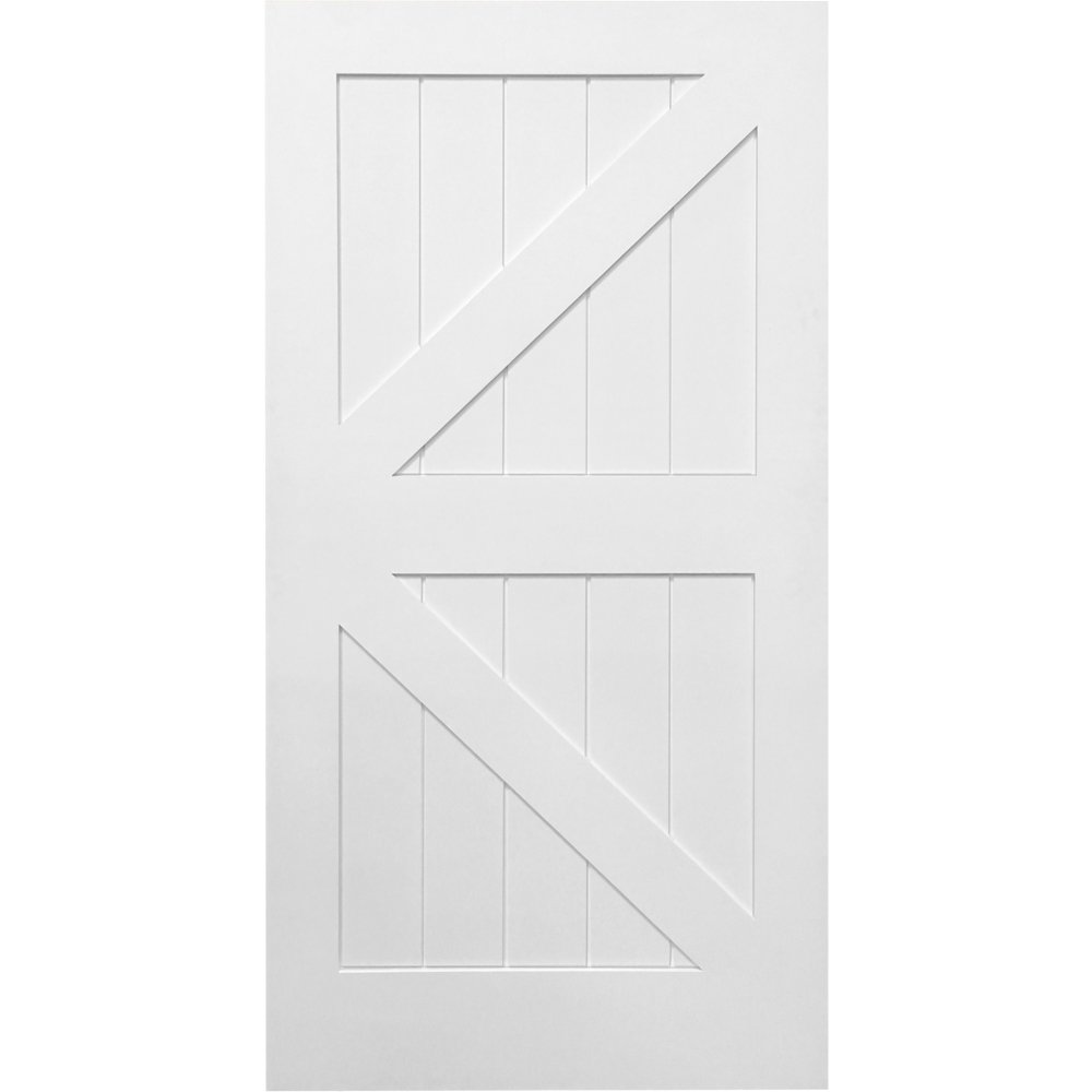 National Door Company Z028971 Solid Core MDF K-Bar Planked, Primed, 42'' x 84'', Barn Door Slab