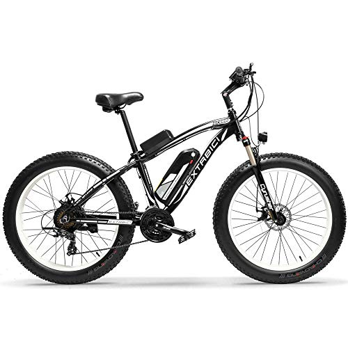 Cyrusher Fat Tire Bike Snow Bike Mountain Bike with Motor 500W 1000W 48V Lithium Battery Extrbici XF660 Shimano 7 Speeds System 4.0 inch Fat Tire s New Adjustable Handlebar