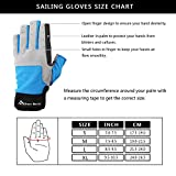 Sailing Gloves Men Women for Sailing, Fishing, Boating, Kayaking, Surfing, Canoe Padding, Dinghy and Water Sports, Leather in Palm to Enhance Gripping, 3/4 Finger Design, Blue/Grey