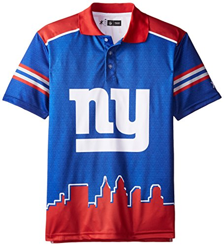 New York Giants Polyester Short Sleeve Thematic Polo Shirt Medium