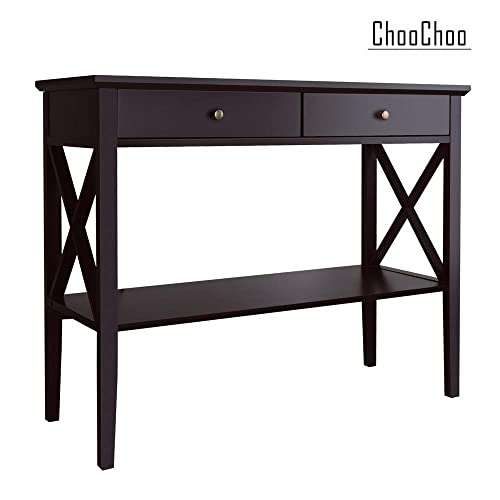 ChooChoo Console Sofa Table Classic X Design with 2 Drawers, Entryway Hall Table, Accent Table Easy Assembly Espresso