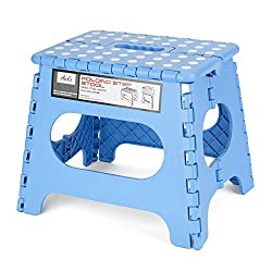 Acko Sky Blue 11 Inches Non Slip Folding Step Stool for Kids and Adults with Handle, Holds up to 250 LBS (Sky Blue)