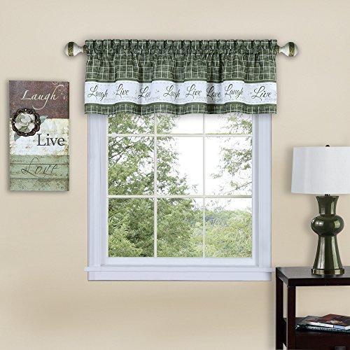 (Serenity Home Inspire Light Filtering Window Kitchen Curtain Valance (Green, 58x14))