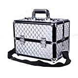 HST Professional Large Makeup Case Cosmetics Box 18 Compartments With Shoulder Strap Nail Polish Storage Lockable Makeup Organizer Vanity Case Makeup Train Case Diamond (Silver)