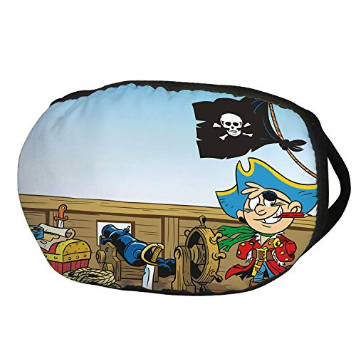 Journey Mens Water (Fashion Cotton Antidust Face Mouth Mask,Pirate,Funny Pirate Boy Kid on Ship Deck Journey Dangerous Adventure in Unknown Waters Decorative,Multicolor,for women & men)