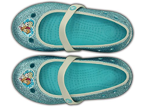 crocs Girls' Keeley Petal Charm Flat PS (10 M US Toddler, Pool/Frozen)