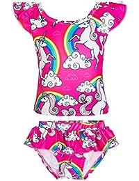618f43f5e0759 Girls Rainbow Unicorn Swimsuit Two Pieces Swimwear Bathing Suit Bikinis
