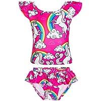 KABETY Girls Rainbow Unicorn Swimsuit Two Pieces Swimwear Bathing Suit Bikinis