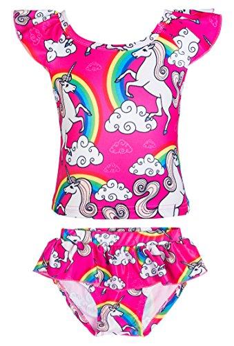 KABETY Girls Rainbow Unicorn Swimsuit Two Pieces Swimwear Bathing Suit Bikinis (Pink, -