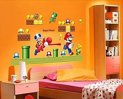 Adesivi Murali Super Mario.Super Mario Bros Removibile Adesivi Murali Decalcomania Decorazioni