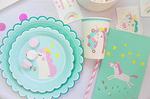 Birthday Party Paper Cups - Unicorn Theme Birthday Party Set Supplies Pack - Accessories, Decorations for Kids Parties - Table Sets For Girls - Paper Plates, Cups, Napkins, Goodie Bag, Straws & Gift Favors for 16 Ppl