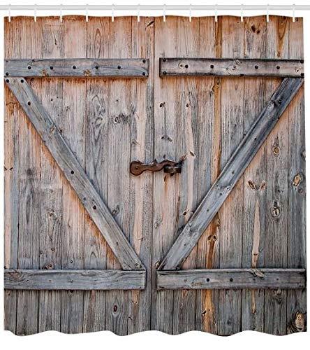 Abakuhaus Rústico Cortina de Baño, Vieja Puerta de Madera Garaje Granja Estilo Nativo Americano Arte