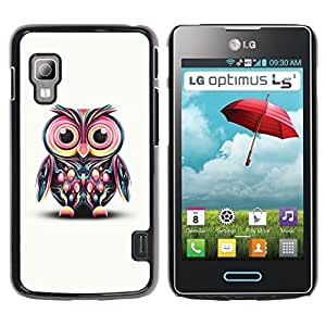 LECELL -- Funda protectora / Cubierta / Piel For LG Optimus L5 II Dual E455 E460 -- Cute Colorful Big Eye Owl --