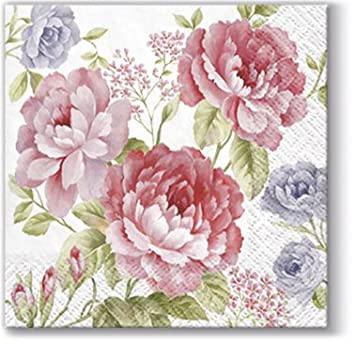 Decoupage Craft Paper Round Napkins 24 pcs ∅12.6″ Lucy Roses