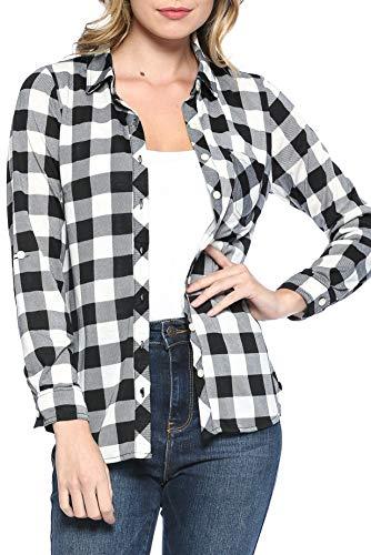 - Urban Look Womens Long Sleeve Plaid Button Down Flannel Shirt (Small, Black White)