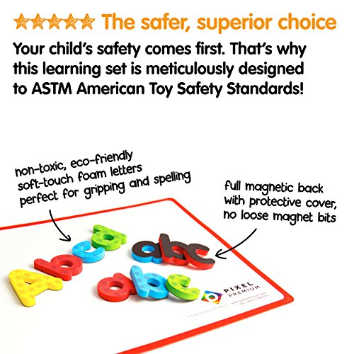 Pixel-Premium-ABC-Magnets-for-Kids-Gift-Set-142-Magnetic-Letters-for-Fridge-Dry-Erase-Magnetic-Board-and-FREE-e-Book-with-40-Learning-Spelling-Games-Best-Alphabet-Magnets-for-Refrigerator-Fun