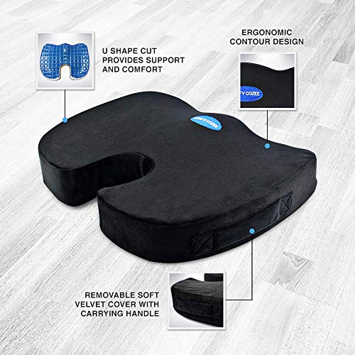 Comfy Cozee Cooling Gel Infused Memory Foam Seat Cushion | Chair Pad Delivers Unmatched Soothing Comfort | Back, Sciatica, Coccyx Pain Relief & Lumbar Support | Sitting Pillow Fixes Poor Posture