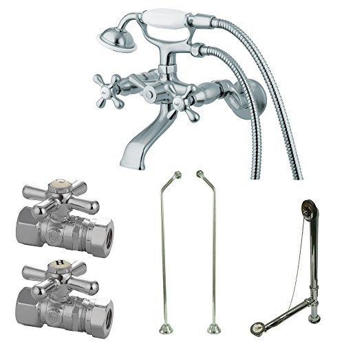 Kingston Brass CCK265CD Vintage Wall Mount Claw Foot Faucet Package with D Set Supply Line, 4-3/4-Inch, Polished Chrome