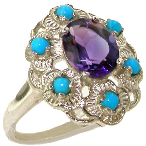 925 Sterling Silver Natural Amethyst and Turquoise Womens Cluster Ring - Sizes 4 to 12 Available