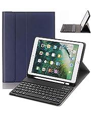 Numeo iPad 9.7 Keyboard Case with Pencil Holder for iPad 9.7 2018&2017,iPad Pro 9.7,iPad Air 2&1 Smart Stand PU Leather Case Detachable Bluetooth Keyboard with Auto Sleep/Wake (Navy Blue)