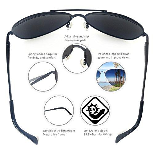 Large Product Image of J+S Premium Military Style Classic Aviator Sunglasses, Polarized, 100% UV Protection (Large Frame - Black Frame/Black Lens)