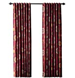 Home Decorators Collection Terracotta Floral Cottage Back Tab Curtain, 84 in. Length