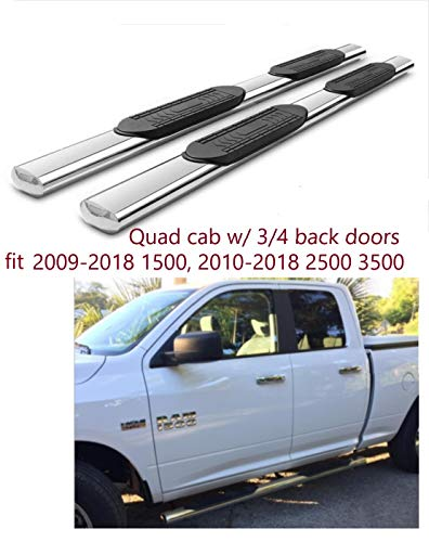 "5"" Oval Running Boards Stainles Nerf Bars Side Steps for 2009-2018 Dodge Ram 1500 Quad Cab (2 3/4 Size Rear Doors)(N0 2019), 2010-2018 Dodge Ram 2500 3500 Quad Cab (NO 2019)"