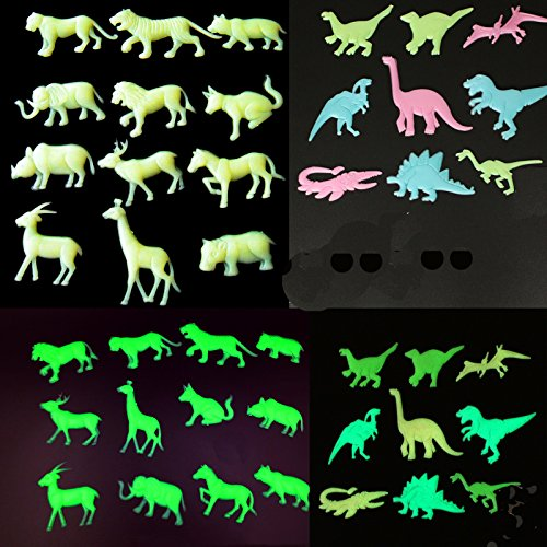 21 Pcs Glow In The Dark Wall Stickers Animal Model Dinosaur and Horse Leopard Elephant Deer Wild Boar Wolf Tiger Lion Dog Animal in Toys and Games ()