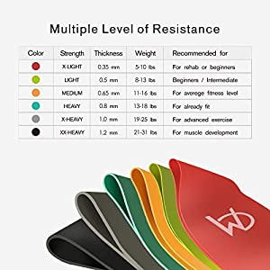CHICMODA Resistance Bands Set of 6, Exercise Loop Bands Tone Legs Butt and Core. Workout Bands for Home Fitness, Stretching, Pilates, Crossfit, Physical Therapy, Yoga, Rehab, Flexbands -Natural Latex
