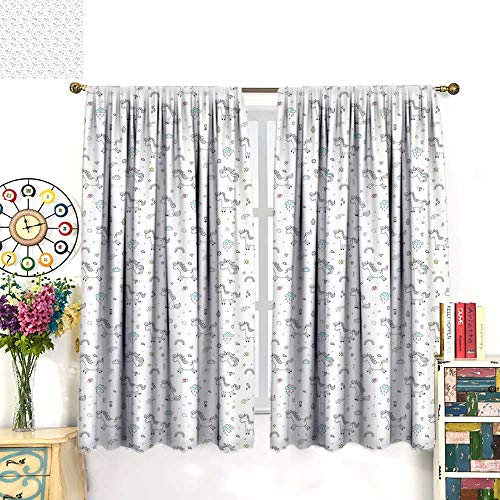 WinfreyDecor Unicorn Drapes for Living Room Ice Creams Hearts and Clouds with Ancient Fairy Tale Animals in Rainbow ColorsBlackout curtainMulticolor. W55 x L72