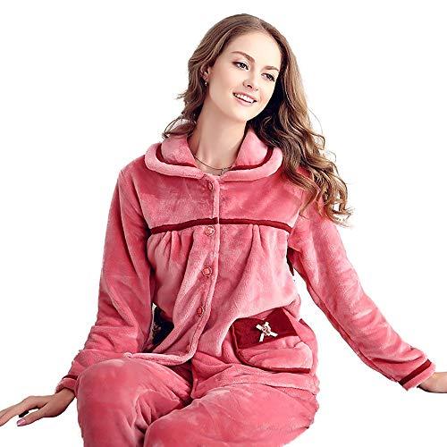 Servicio Sexy Cardigan De Toalla Conjunto Felpa tamaño L Franela La Pijamas Espesar Casual Caliente Larga Suave Cómodo Damas Manga Hogar Solapa 6ngwExqZ