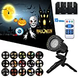 Christmas Projector Lights, Vexverm 15 pcs Replaceable Slides IP65 Waterproof Outdoor Landscape Rotating Spotlight LED Remote Control for Halloween Christmas, Garden, Party, Holiday Decoration