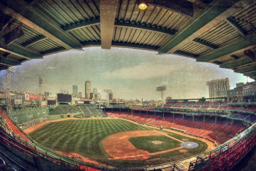 Fenway Park Poster, Boston Red Sox Art with Boston Skyline View, Boston Sports Decor